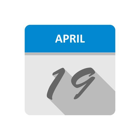 April 19th Date on a Single Day Calendar vector