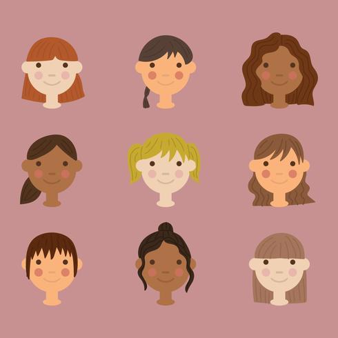 Girl Faces vector