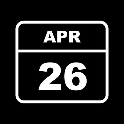 April 26th Date on a Single Day Calendar vector