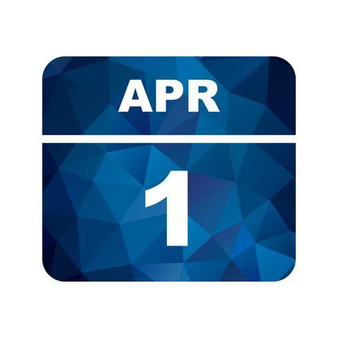 April 1st Date on a Single Day Calendar vector