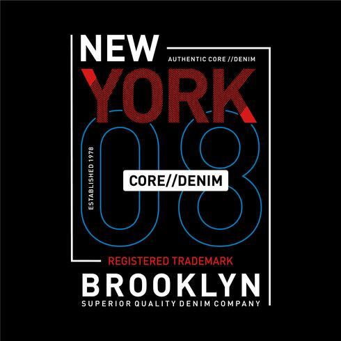 Tipografía denim de New York, Brooklyn core para estampado de camiseta