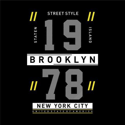 tipografia grafica della progettazione della maglietta di New York della via di stile vettore