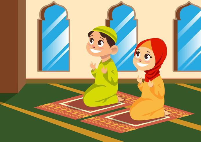 Muslimska barn bjuder i moskén vektor