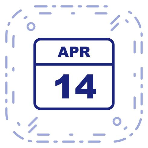 14 aprile Data su un calendario per un solo giorno
