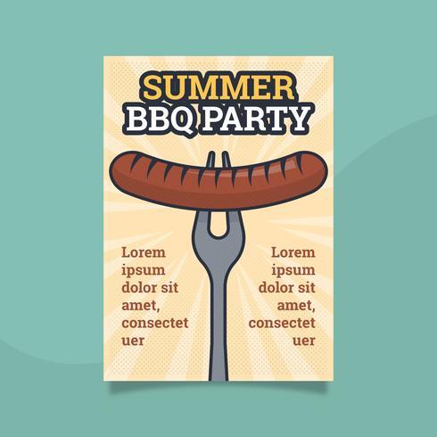 Platte Retro BBQ-poster sjabloon