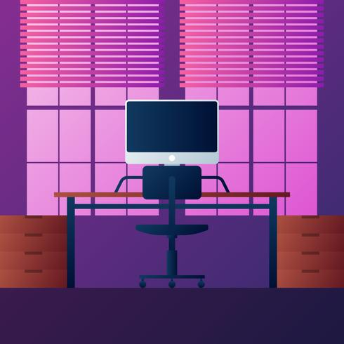 Interior Office Room Design Modern Style Illustration vector