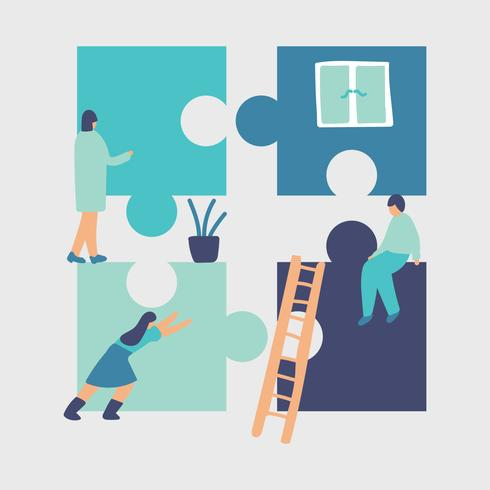 Medarbetare som arbetar tillsammans vektor