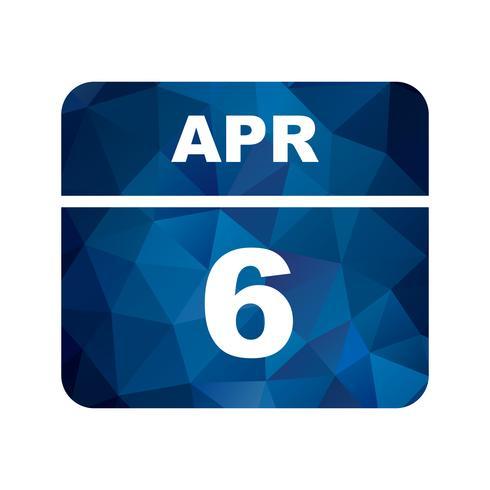 April 6th Date on a Single Day Calendar vector