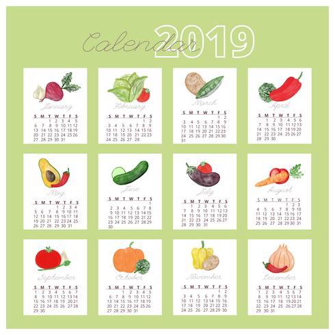 Watercolor Veggies Calendar 2019 vector
