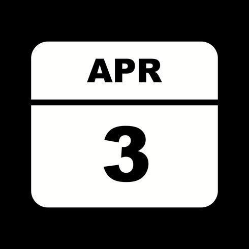 April 3rd Date on a Single Day Calendar