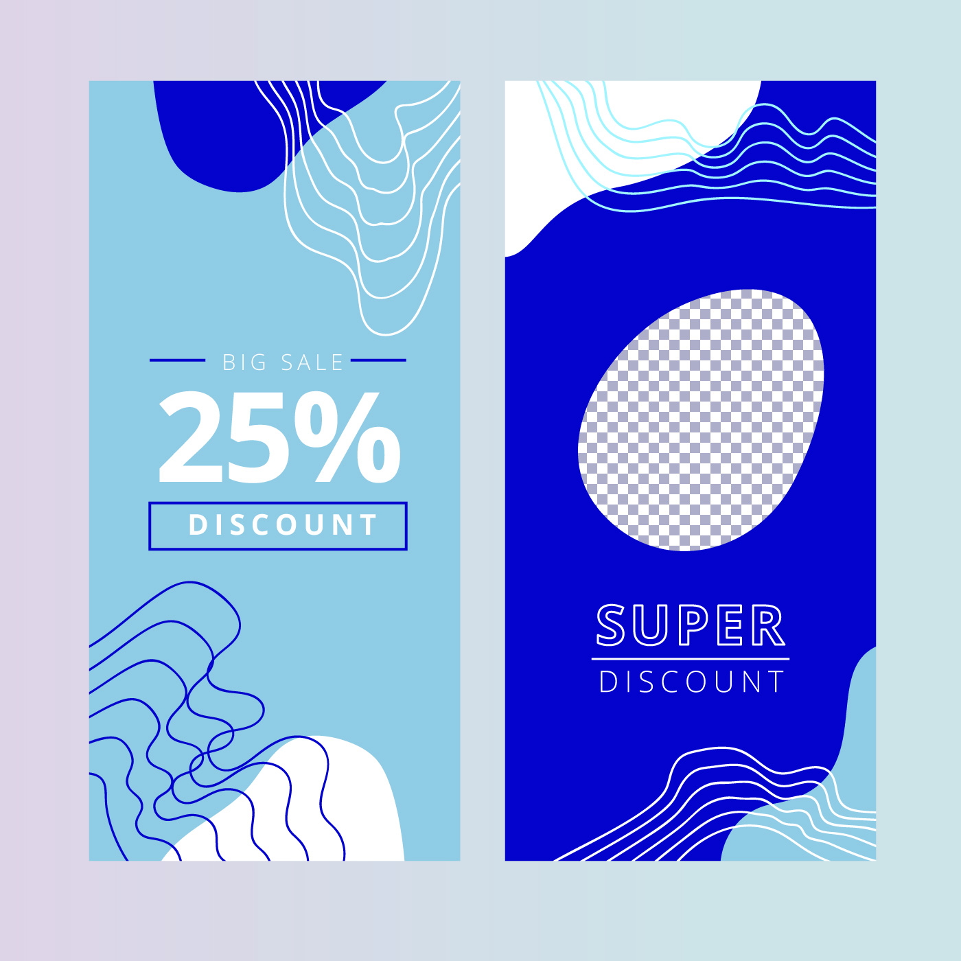 Vector Illustration Instagram: Blue Organic Instagram Template With Sale Text