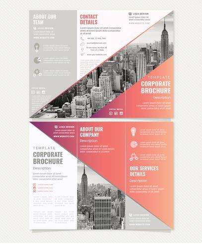 Modelo de Brochura - vetor com gradiente corporativo com três dobras