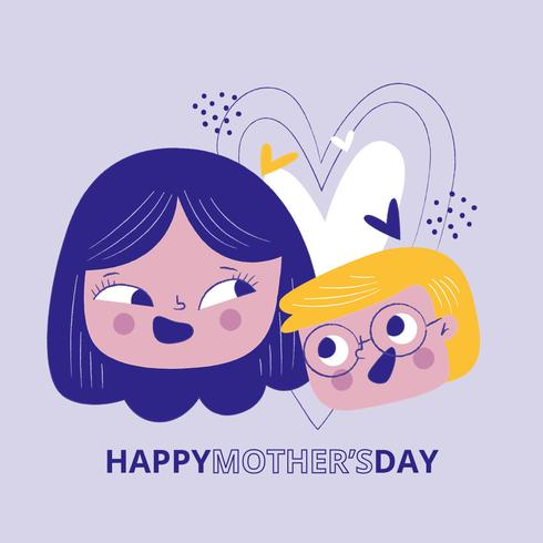 Happy Mom With Kid And Hearts vector