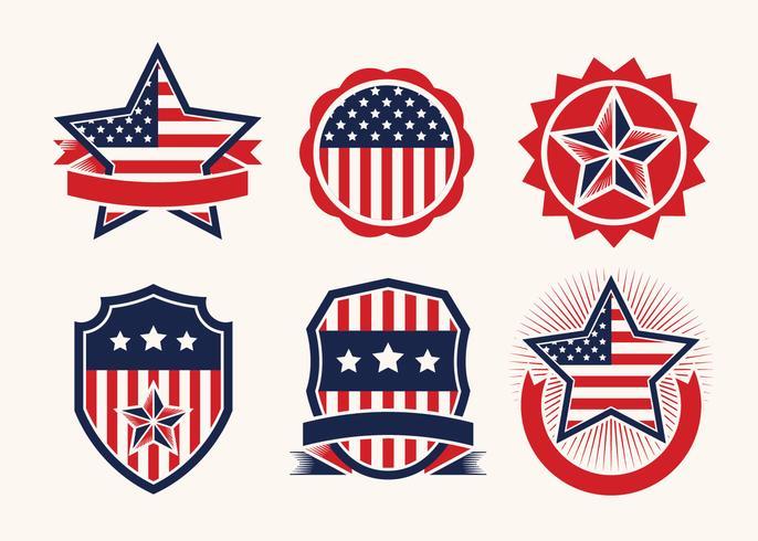 Drapeau américain en vecteur de badge