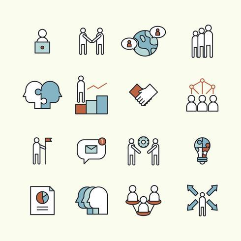 Ensemble décrit d'icônes sur le travail d'équipe