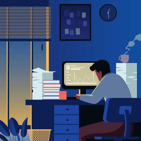 Night At Office vector