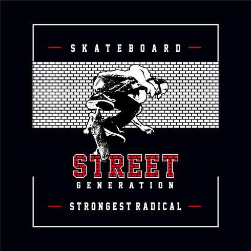 Skateboard typography, tee shirt graphics