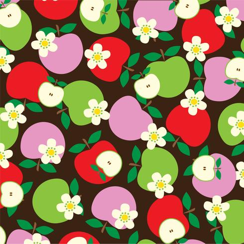 overlapping apple and flower pattern on brown background vector