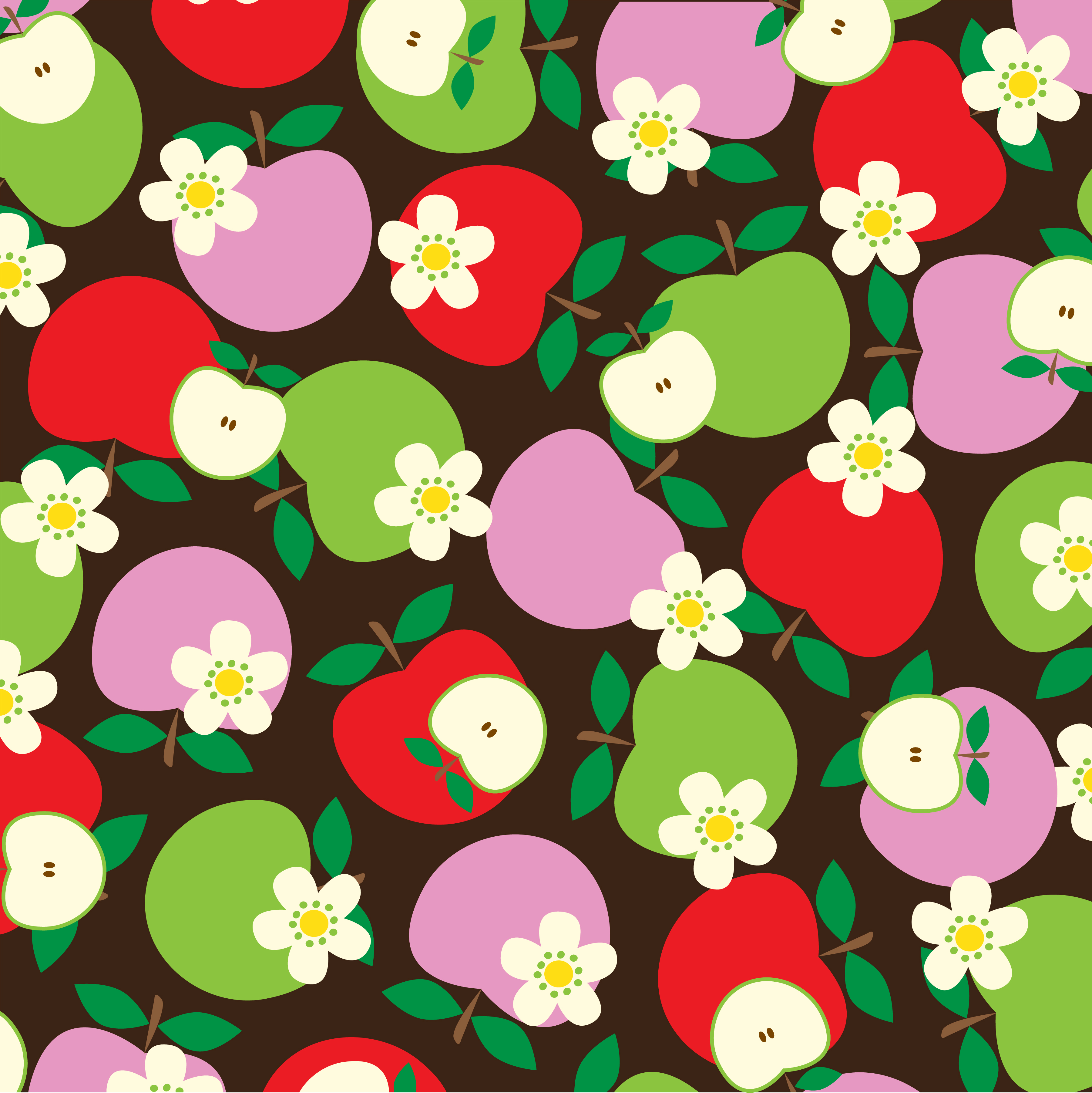 Overlapping Apple And Flower Pattern On Brown Background