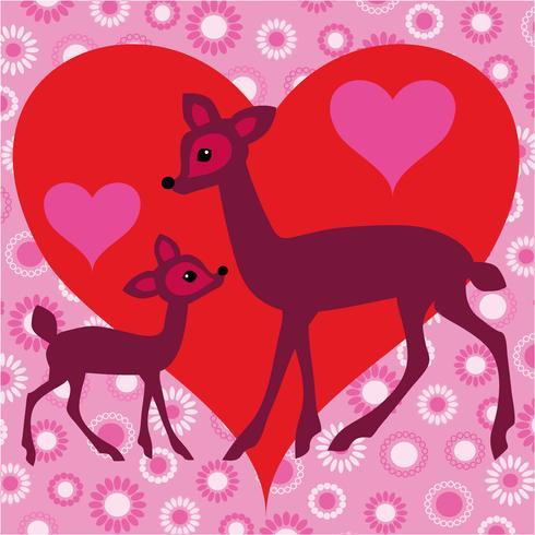 deer valentine vector with heart