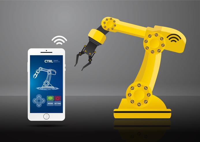 Icono del concepto de la industria 4.0, red de Internet de las cosas, solución de fábrica inteligente, tecnología de fabricación, robot de automatización con fondo gris vector