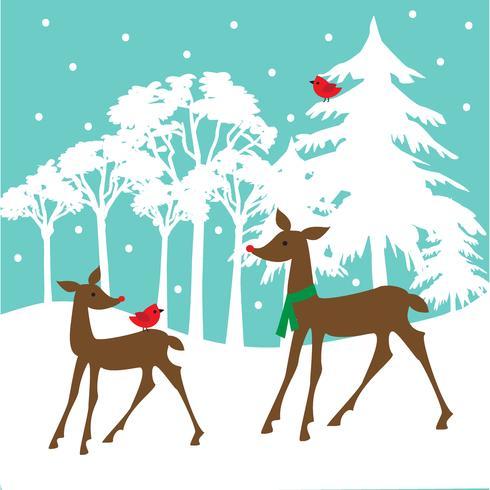 white deer scene vector graphic