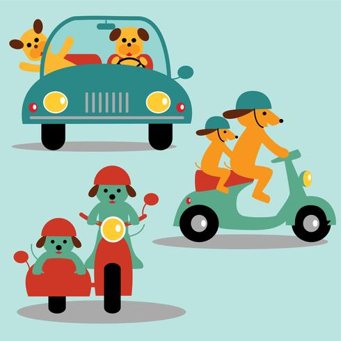 cute dog graphics with car scooter and motorcycle vector