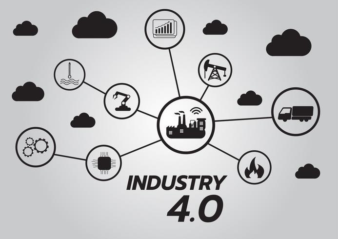 Ícone da indústria 4.0 conceito, Internet da rede de coisas, solução de fábrica inteligente, Tecnologia de fabricação, robô de automação com fundo cinza