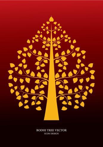 Golden Bodhi tree symbol Thai art style, vector illustration