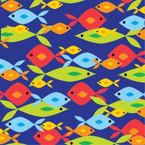 chevauchement du motif de poisson vif sur fond bleu