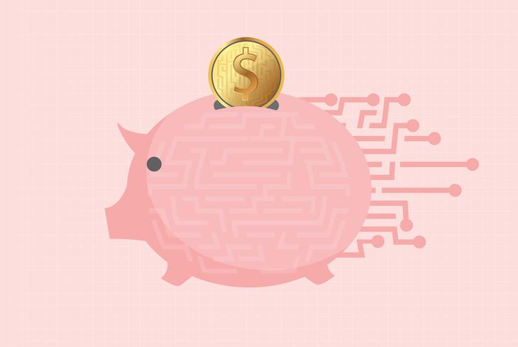 Elektronisch spaarvarken met gouden muntstuk over roze achtergrond. vectorillustratie