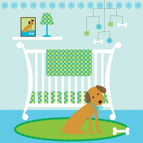 cute dog baby nursery scene with crib