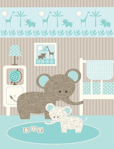 baby elephant nursery graphic vector