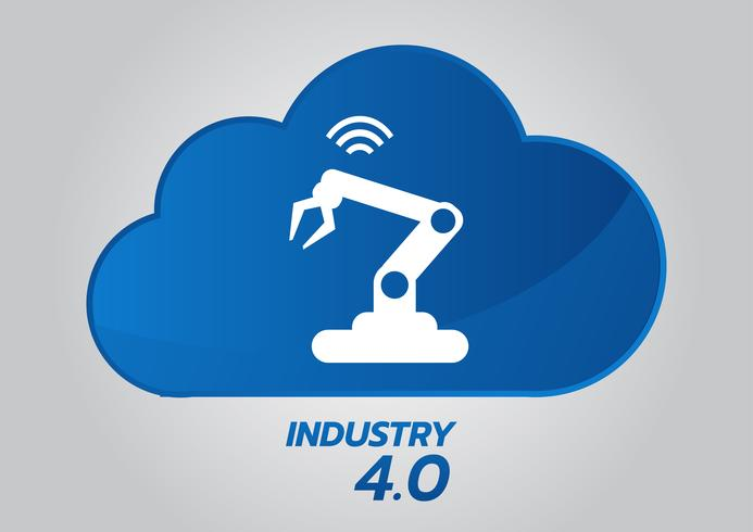 Industrial 4.0 concept, Smart Factory Vector Icon. Wi Fi Plant illustration. Internet of Things (IoT) Industrial Technology.