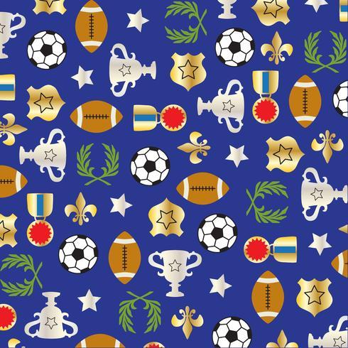 sport ballen en trofee patroon op blauwe achtergrond