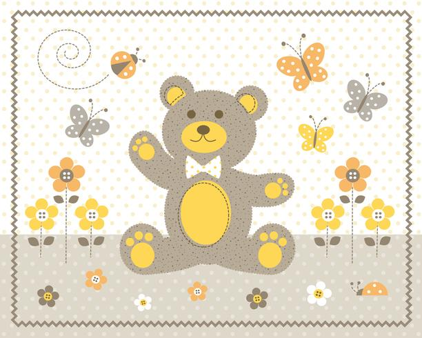 simpatico cucciolo di orso con fiori gialli e farfalle grafica con sfondo a pois