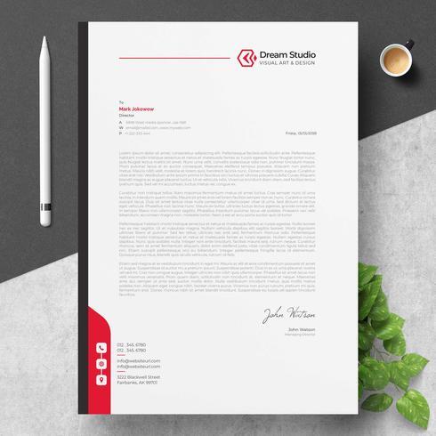 Briefpapier sjabloon met rode details