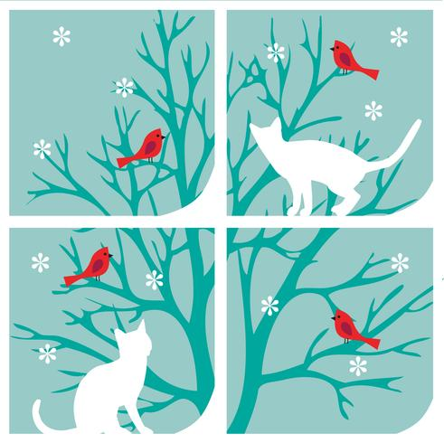 chats au graphique de la fenêtre avec des cardinaux et des flocons de neige