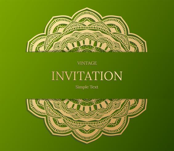Elegante guardar el diseño de la tarjeta de fecha. Plantilla de tarjeta de invitación floral vintage. Remolino de lujo mandala saludo oro y tarjeta verde