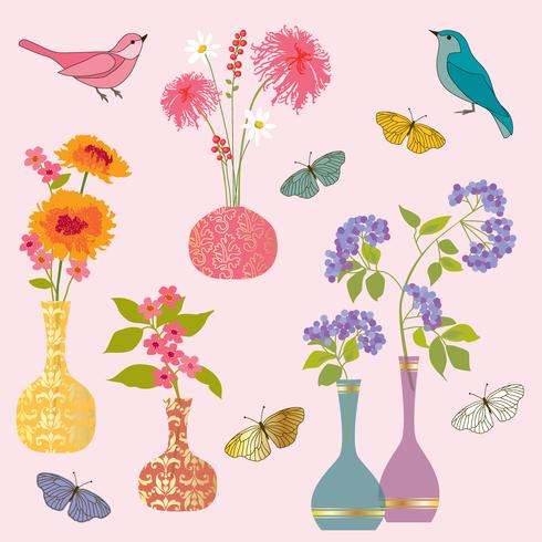 flower vases butterfly and  bird vector graphics