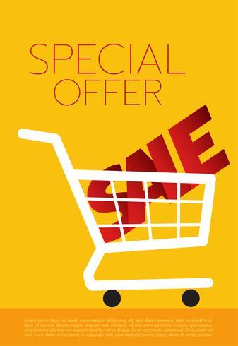 Carrinho de compras, venda, ilustração vetorial