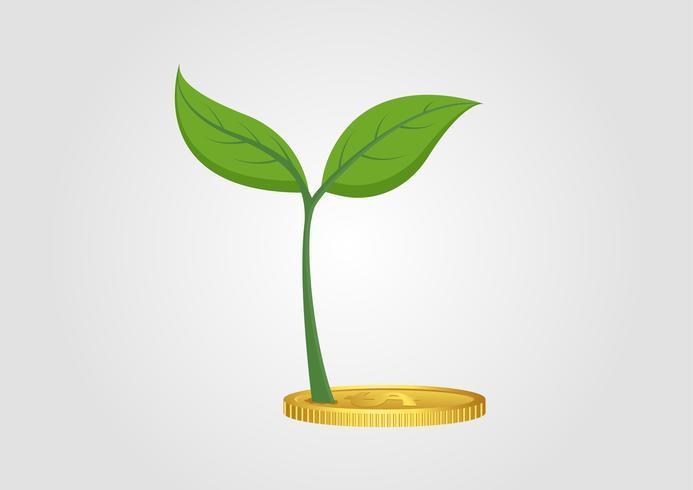 Concetto di business, albero in crescita dal mucchio di monete d'oro