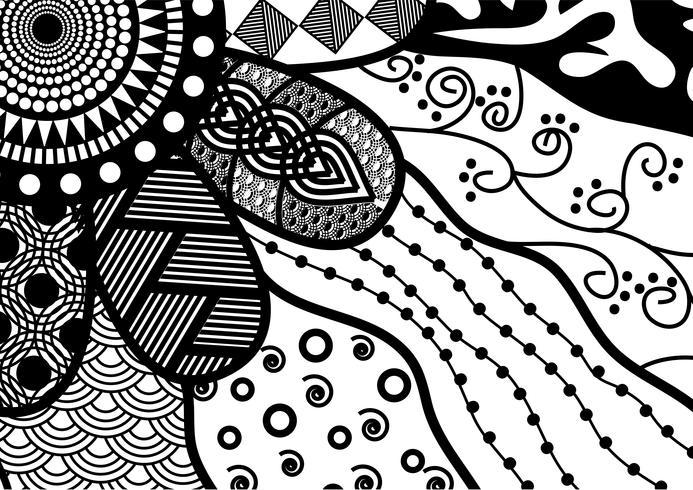 sömlös lager vektor blommig svart och vitt klotter mönster
