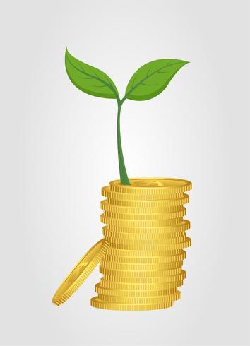 Conceito de negócio, crescendo árvore da pilha de moedas de ouro