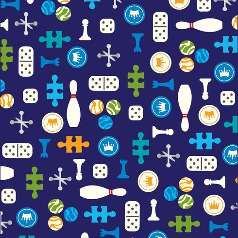 Spielfiguren Vektormuster auf blauem Hintergrund