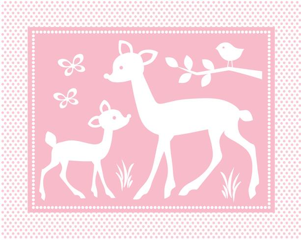 cute baby deer scene with birds and butterflies on pink polka dot background vector