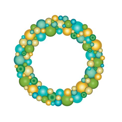 blue green gold Christmas ornament wreath vector
