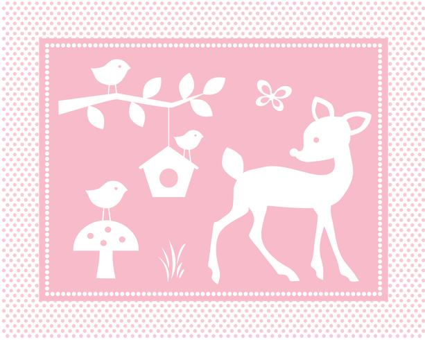 cute deer scene with birds and birdhouse on pink polka dot background vector