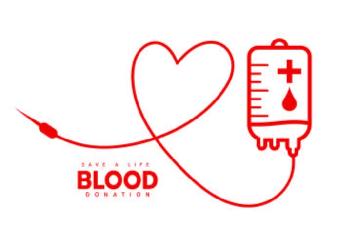 Una bolsa de donación de sangre con tubo en forma de corazón. vector