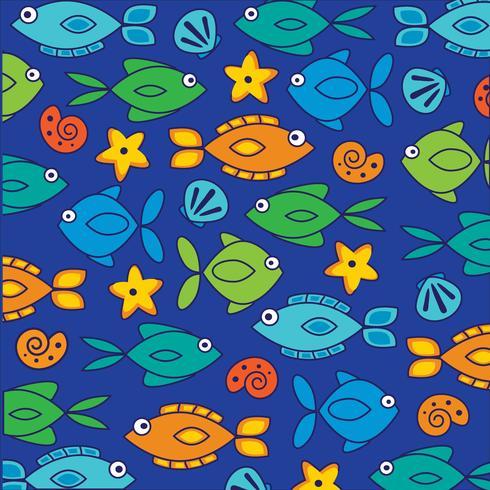 Patrón de fondo de peces y conchas